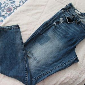 Torrid Rip/Dye Patch Denim Skinny Jean in size 22
